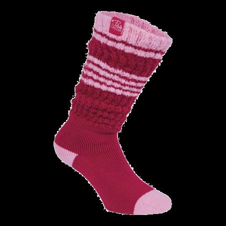 Fold over sokken dames framboos