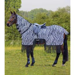 Vliegen uitrijdeken zebra met franjes