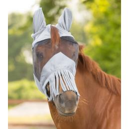 Vliegenmasker met oren en neusbescherming zilvergrijs