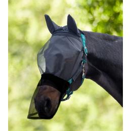 Premium Vliegenmasker Velcro met oren- en neusbeschermer zwart